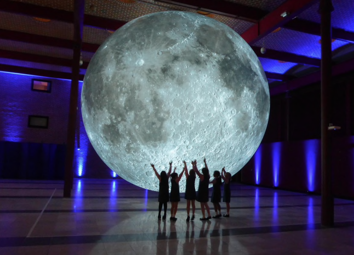 Luke Jerram's <i>Museum of the Moon</i>, a scale model of the moon suspended from the ceiling, will be on display until 15 March 2020