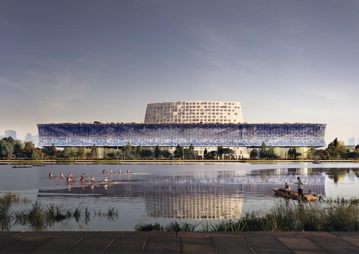 The museum will be situated at the junction of the Grand Canal and the Hanggang River / Herzog & de Meuron