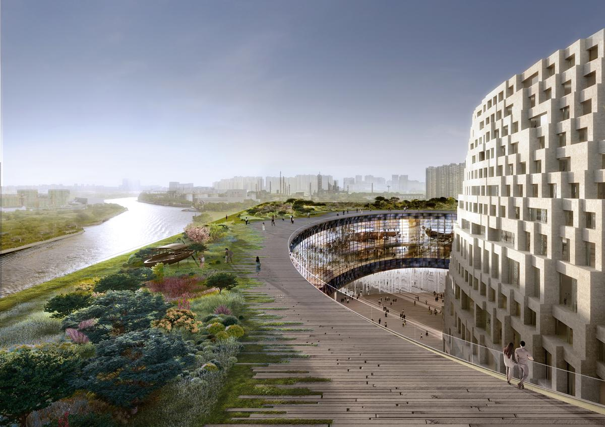 A roof terrace with greenery will contribute to sustainability and stormwater management / Herzog & de Meuron