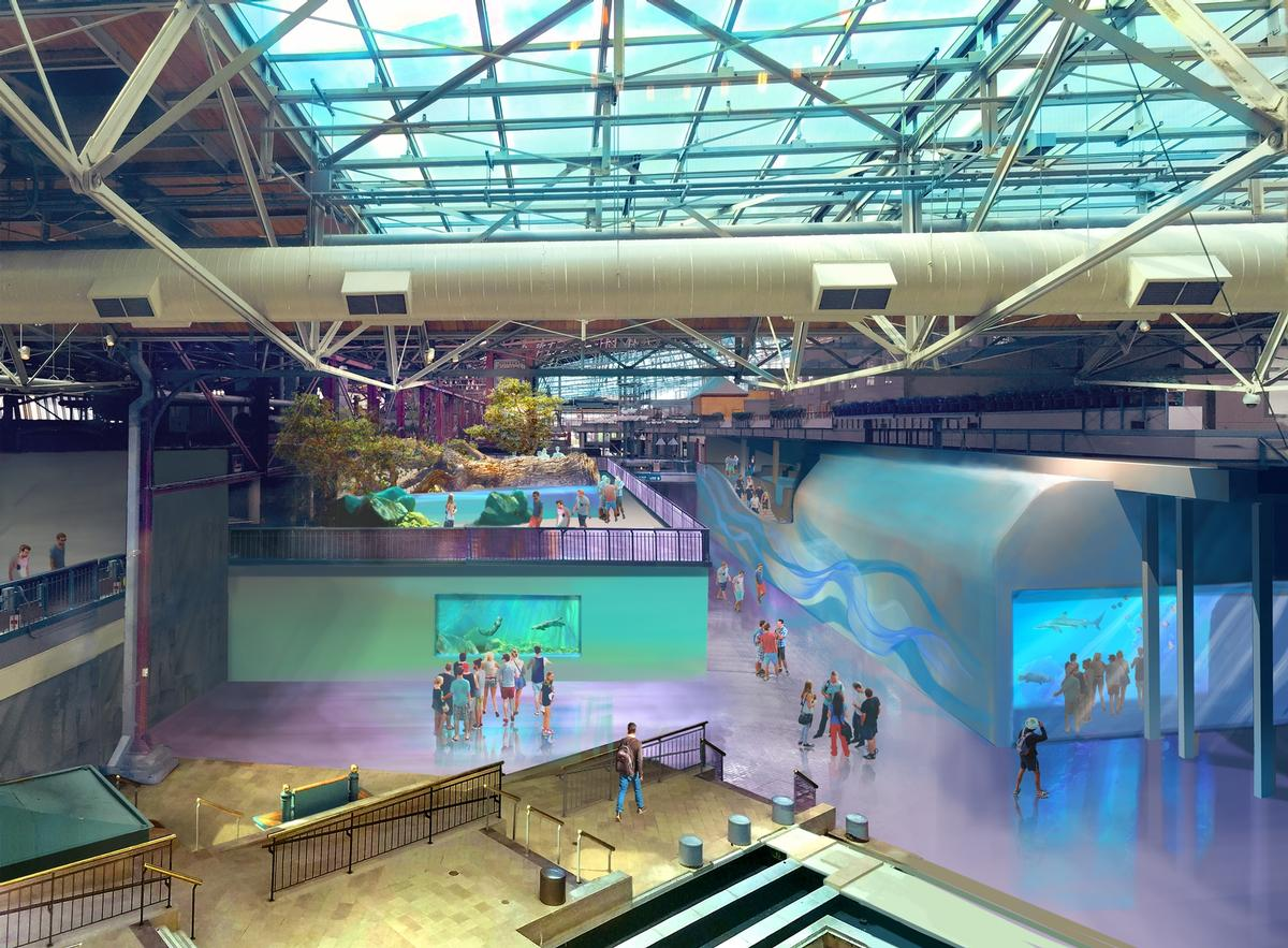 The aquarium is based in the 500,000 sq ft (46,451 sq m) St. Louis Union Station / St. Louis Aquarium / PGAV Destinations