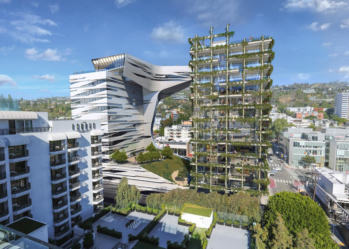 The building will cover 239,000sq ft (22,000sq m) and rise 15 storeys / Morphosis