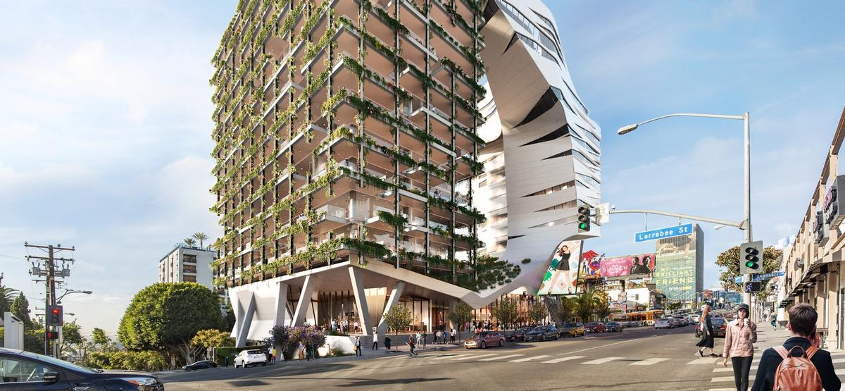 A two-storey podium will contain cafés, public spaces and retail spaces / Morphosis