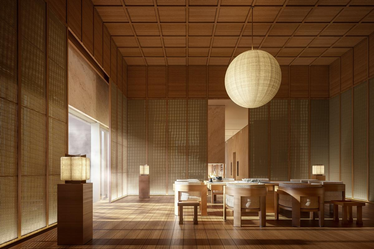 The spa will feature single and double treatment suites, pre-treatment lounges, relaxation pods and extensive thermal spa areas / Aman Resorts