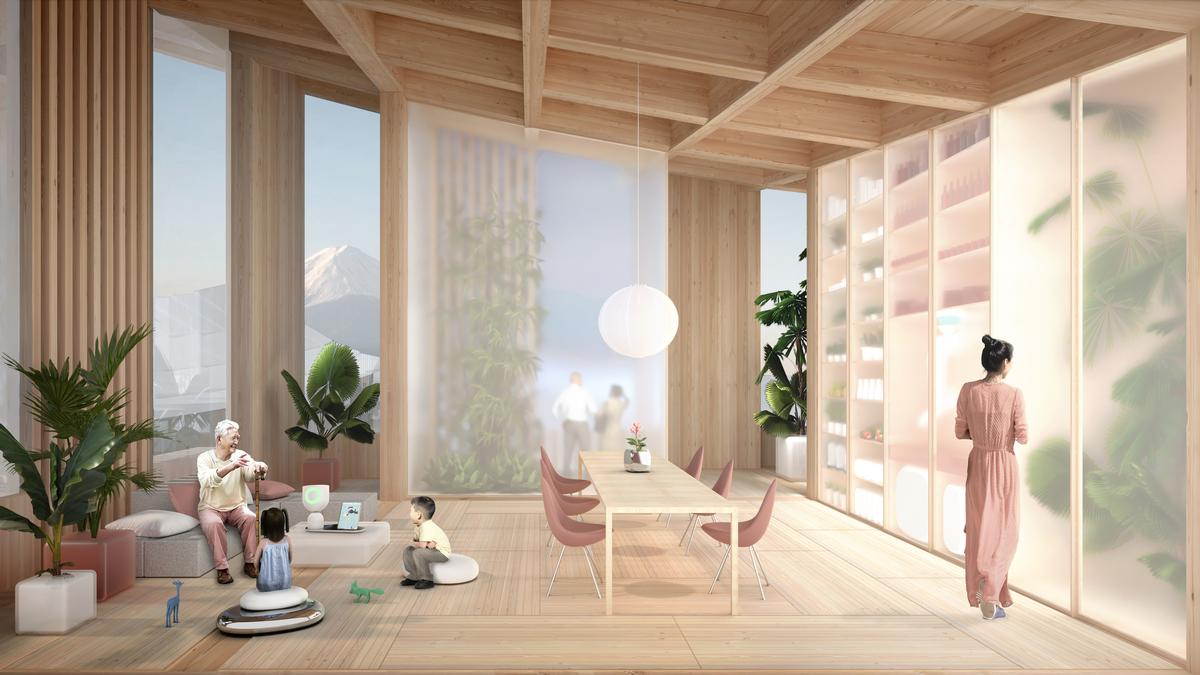 Homes will be fitted with 'human support technologies', such as assistance robots and sensor-based artificial intelligence / Toyota / Bjarke Ingels Group