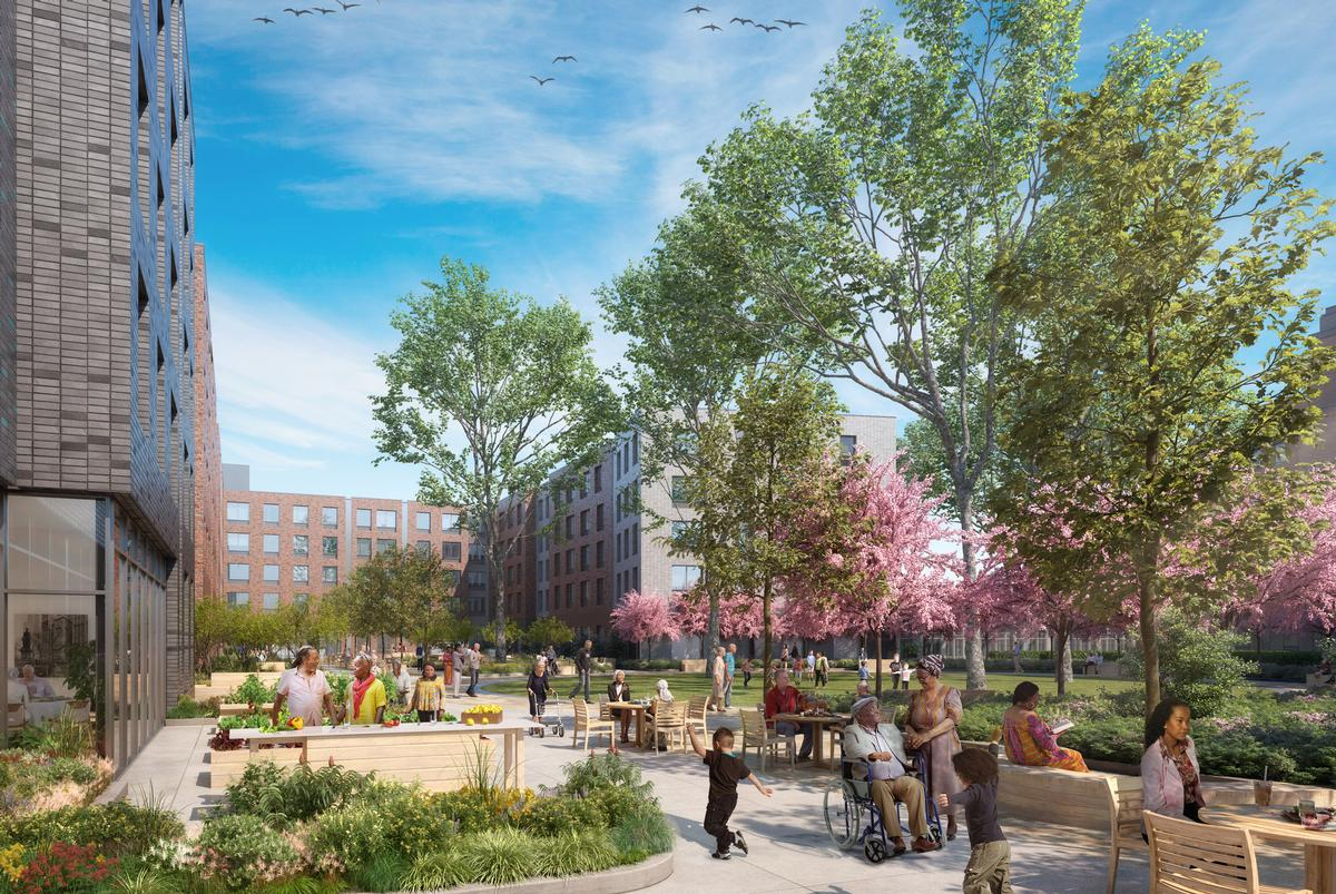 Amenities will include a community garden, outdoor exercise equipment, children's play areas, outdoor kitchens, community spaces and bike storage / Dattner Architects