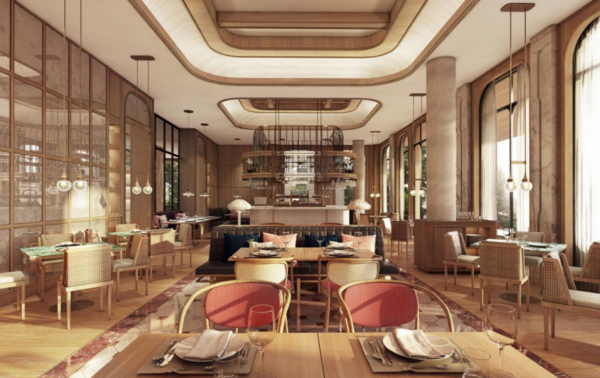 High ceilings and natural are used throughout the hotel / Four Seasons