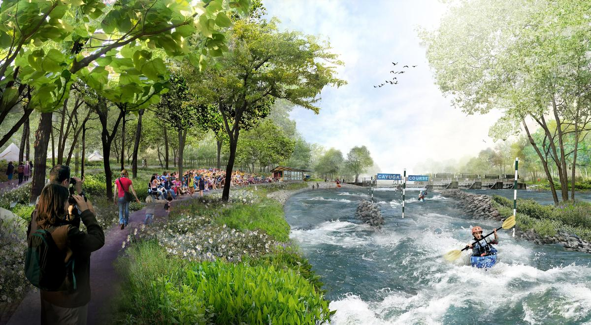 A new whitewater destination and water sports course will be created / BuroHappold