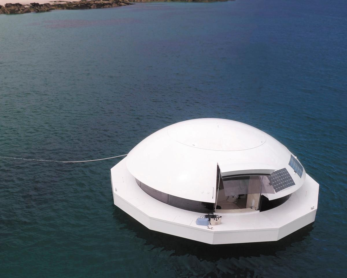 The Anthénea pod is a luxury floating suite that could be used as a spa or treatment suite