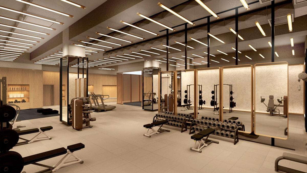The building's fitness centre has been designed by Rockwell to accommodate classes, personal training, and wellness programming / Rockwell Group