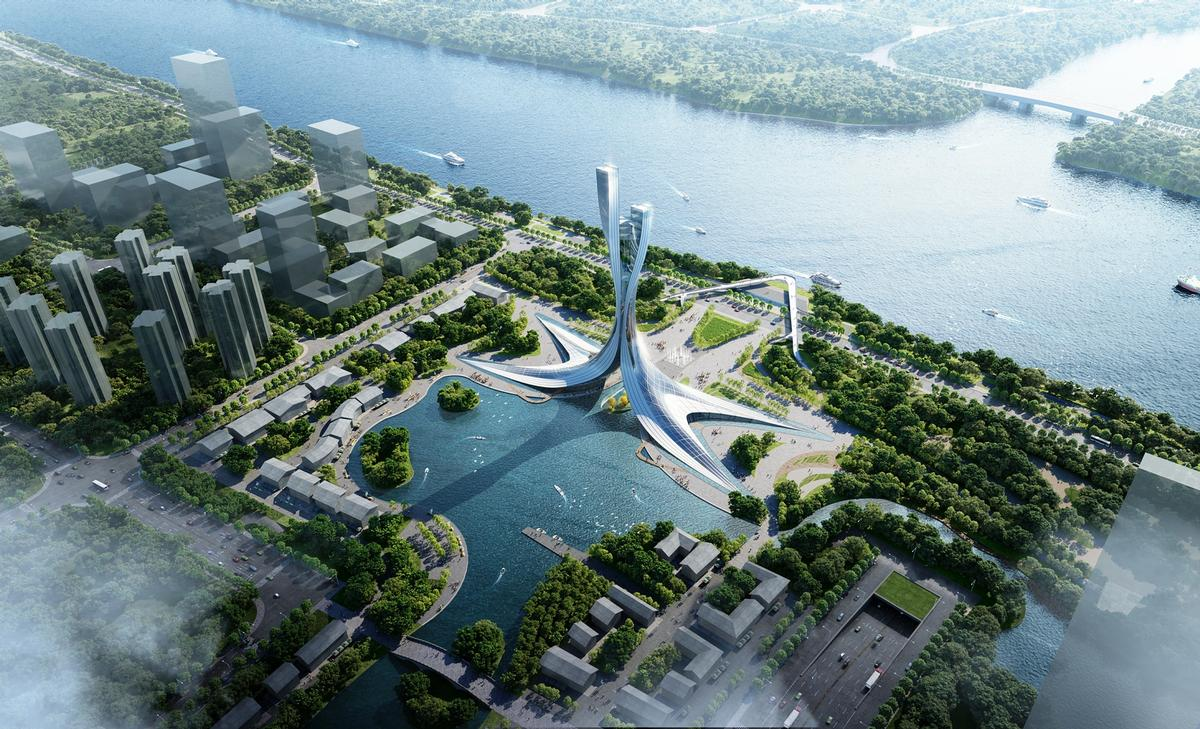 The design is aimed at reflecting the city's status as a fast-evolving tech hub as well as its cultural heritage / RMJM Shanghai