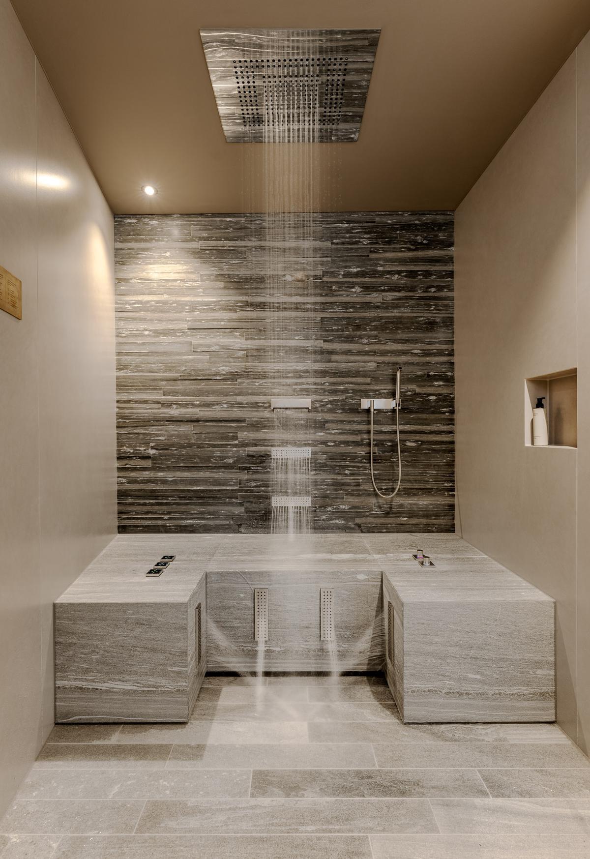 Dornbracht showers include a Horizontal Shower, Sensory Sky, Acquamoon, Comfort Shower, Foot Bath and Leg Shower