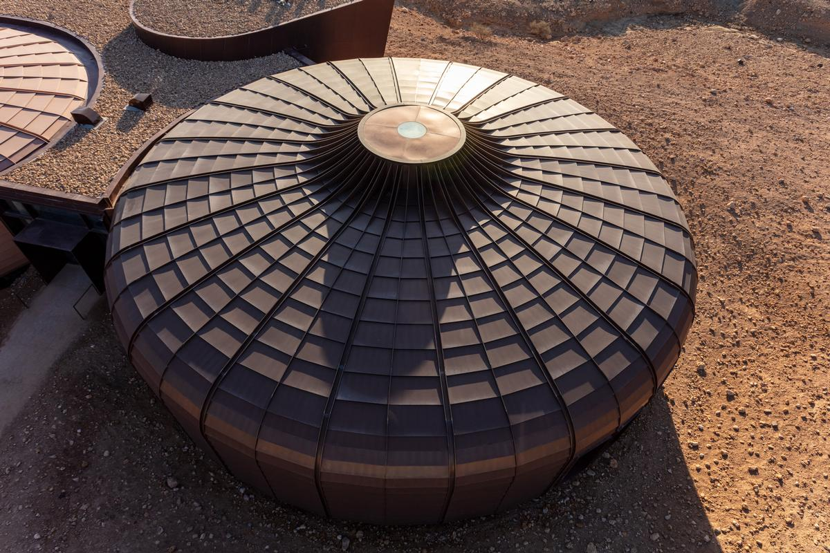The pods' steel cladding, coupled with their circular shapes, recall the urchins on which they are based / Marc Goodwin