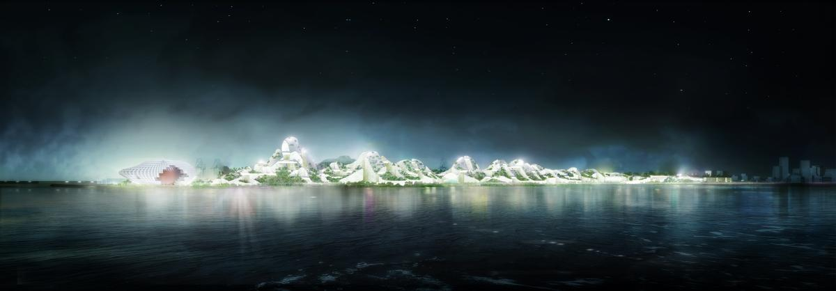 The design is described as being reminiscent of a mountain range / MVRDV