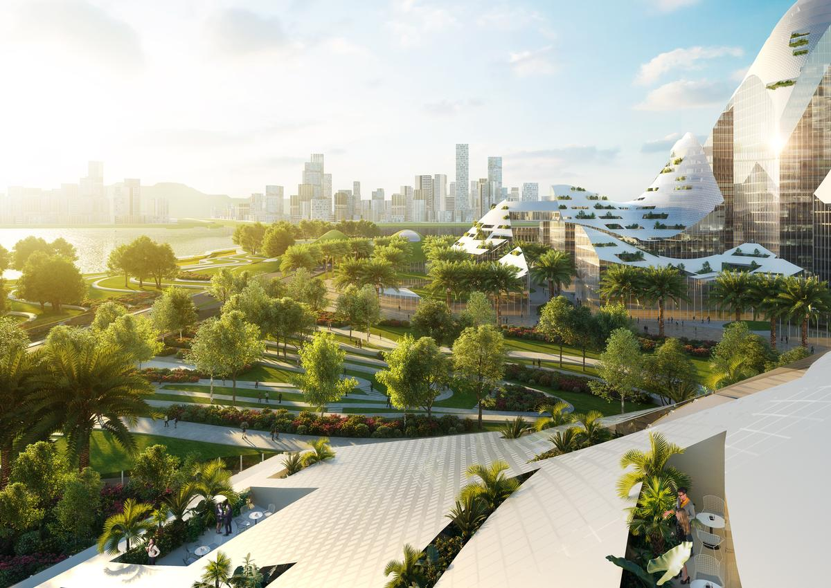 Greenery and green space would be knitted into the district / Atchain