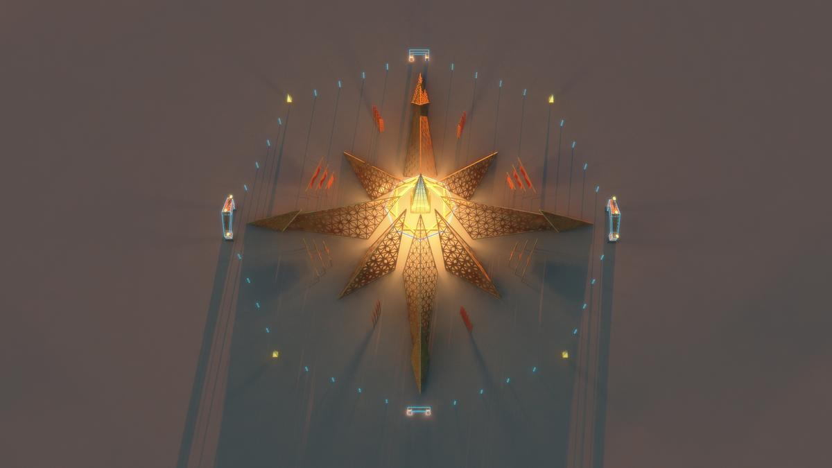 The Temple takes the form of an eight-pointed star