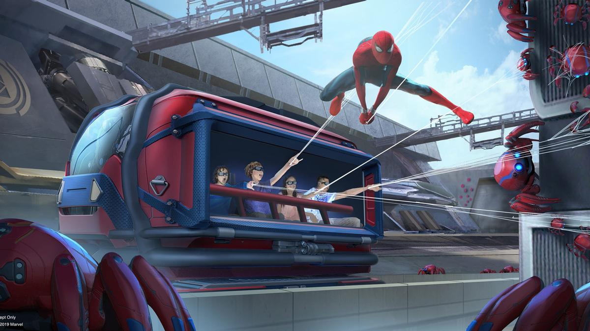 Avengers Campus will be home to a number of experiences when it opens in Q3, including Worldwide Engineering Brigade (WEB) – a ride where guests can sling webs alongside Spider-Man