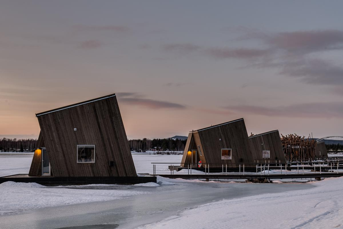 Additional accommodation is provided by six floating cabins for couples and six larger cabins and suites / Daniel Holmgren