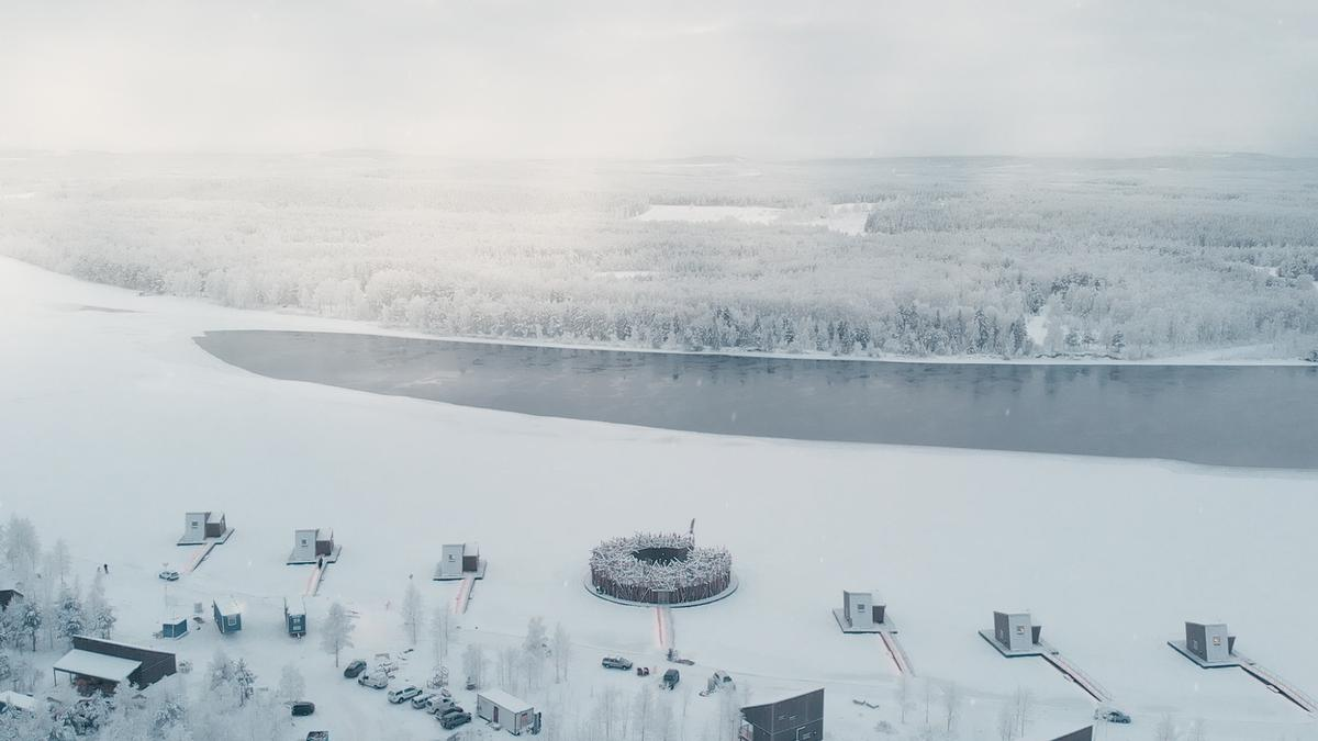 Arctic Bath floating spa hotel opens in Sweden