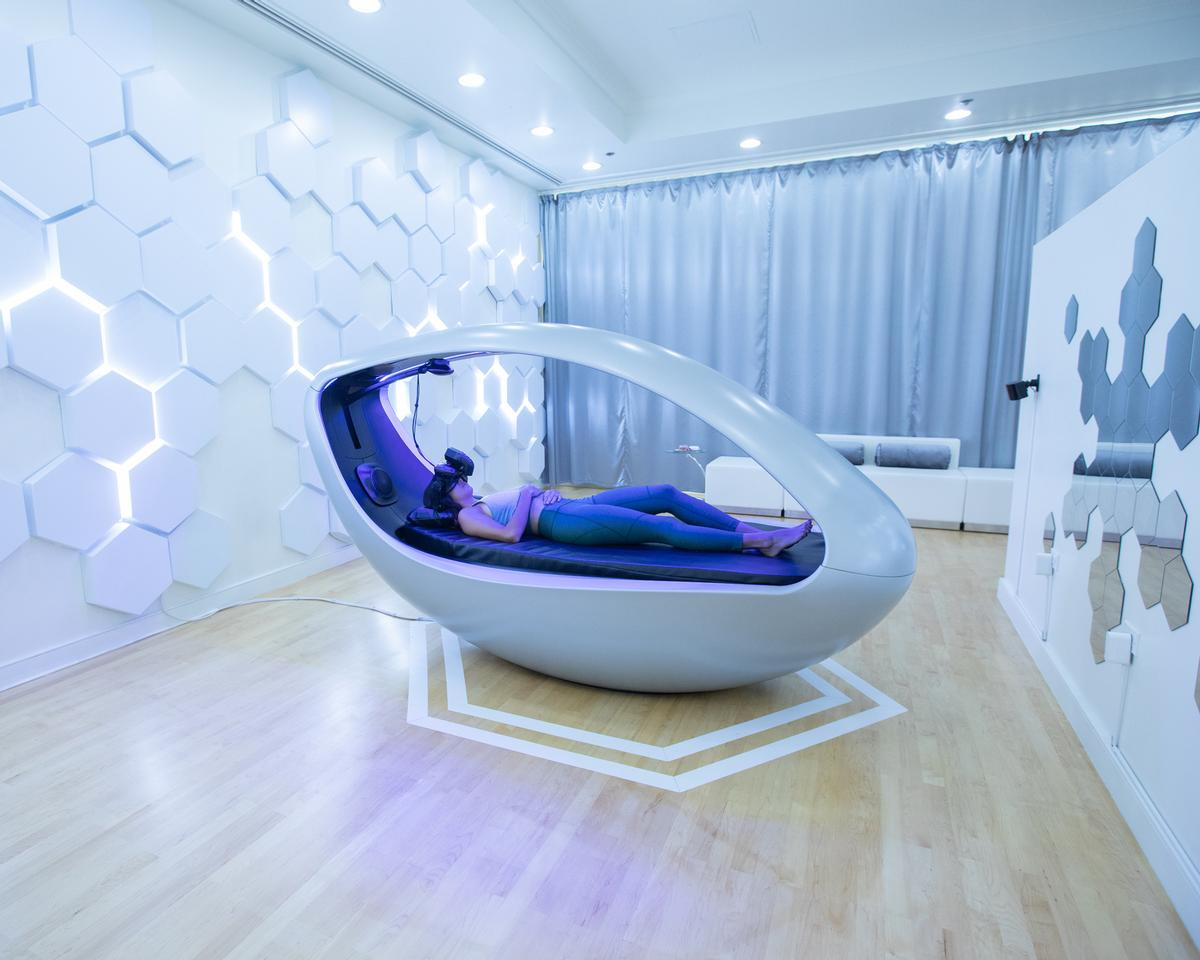 Sensync's Deep Brain Massage treatments are delivered in The Vessel – a VR pod designed to 'displace guests from the burdens of their mind and unlock new approaches for relaxation and restoration'