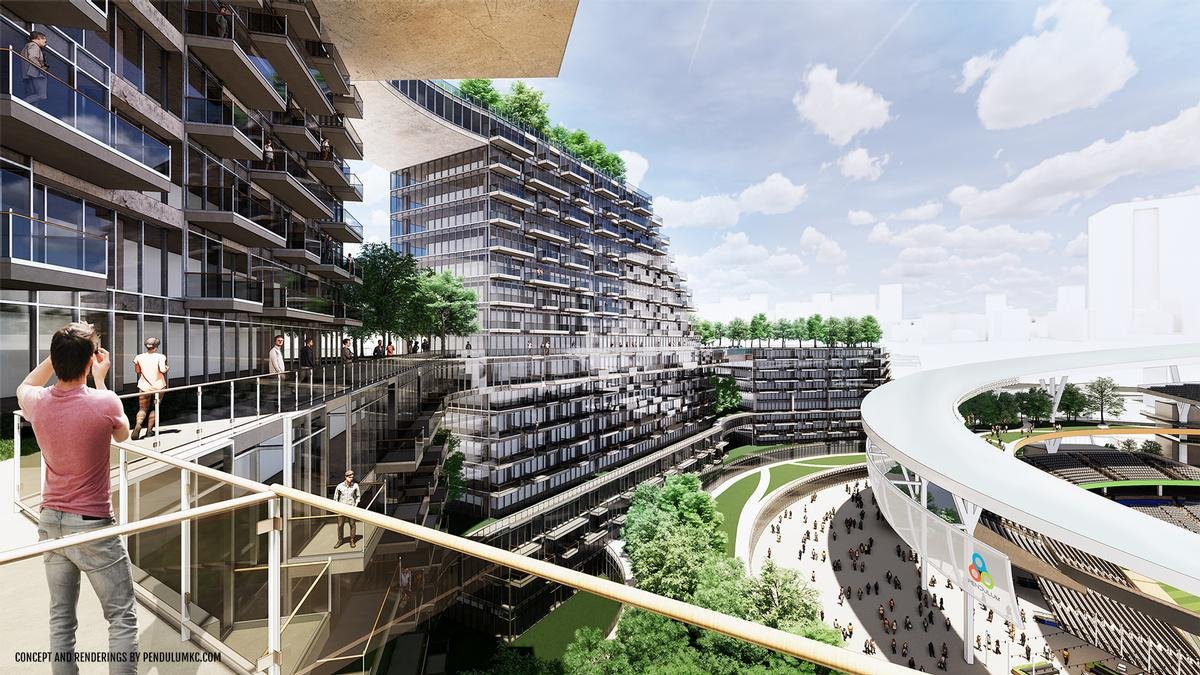Balconies, terraces and pools of the surrounding housing, hotels and amenities would provide views into the ballpark / Pendulum Studio