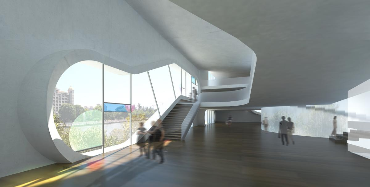 Each of the buildings features a porous façade, with large openings allowing natural light in / Steven Holl Architects