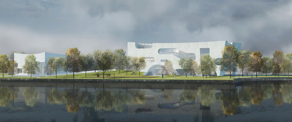 The development comprises a mix of public realm, a canalside park, space for recreational and cultural programs, amenities and health facilities / Steven Holl Architects