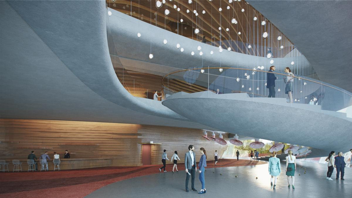 Ramps and walkways are intended to create a sense of flow through the building / AtChain