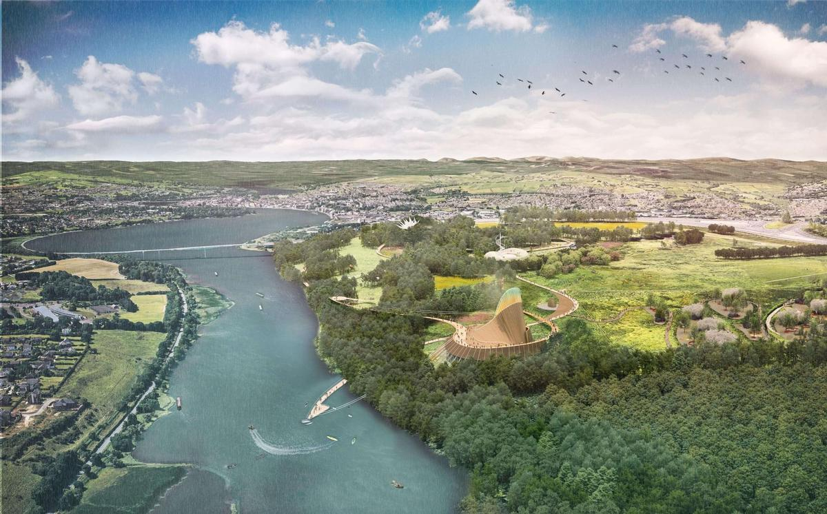 The destination will cover a 100-hectare (250-acre) site along the banks of the River Foyle near Derry-Londonderry / Grimshaw Architects