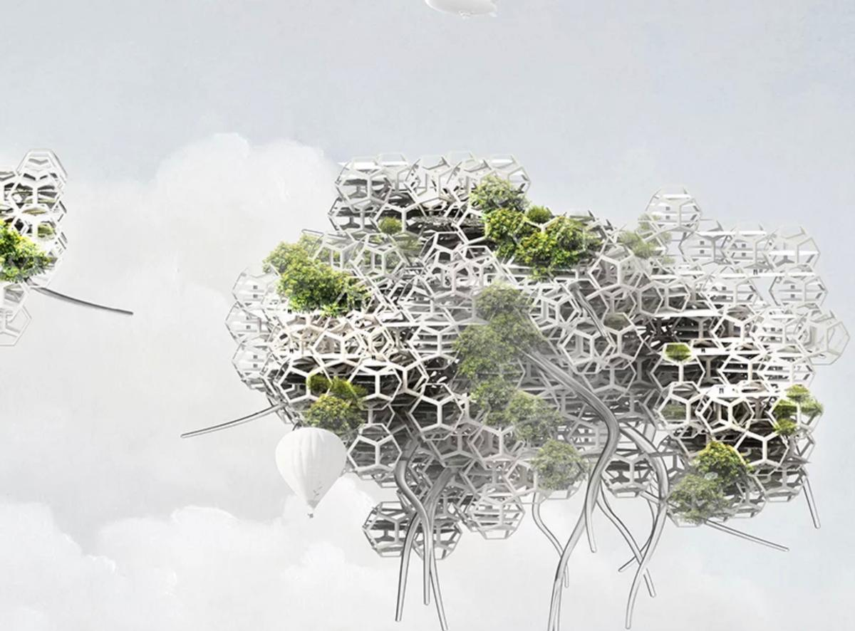 The concept proposes a series of 'cloud-like super structures', essentially cities, made from a network of truncated octahedron air ships that hover in the earth's atmosphere