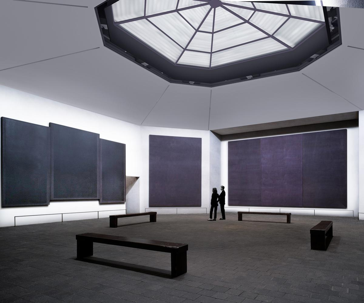 The chapel was created as a place for interfaith worship has 14 huge Rothko canvases on display / Architecture Research Office