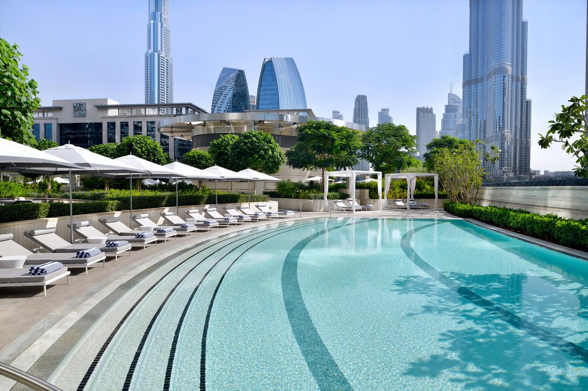 The spa also features an open-air rooftop infinity pool which dominates the skybridge
