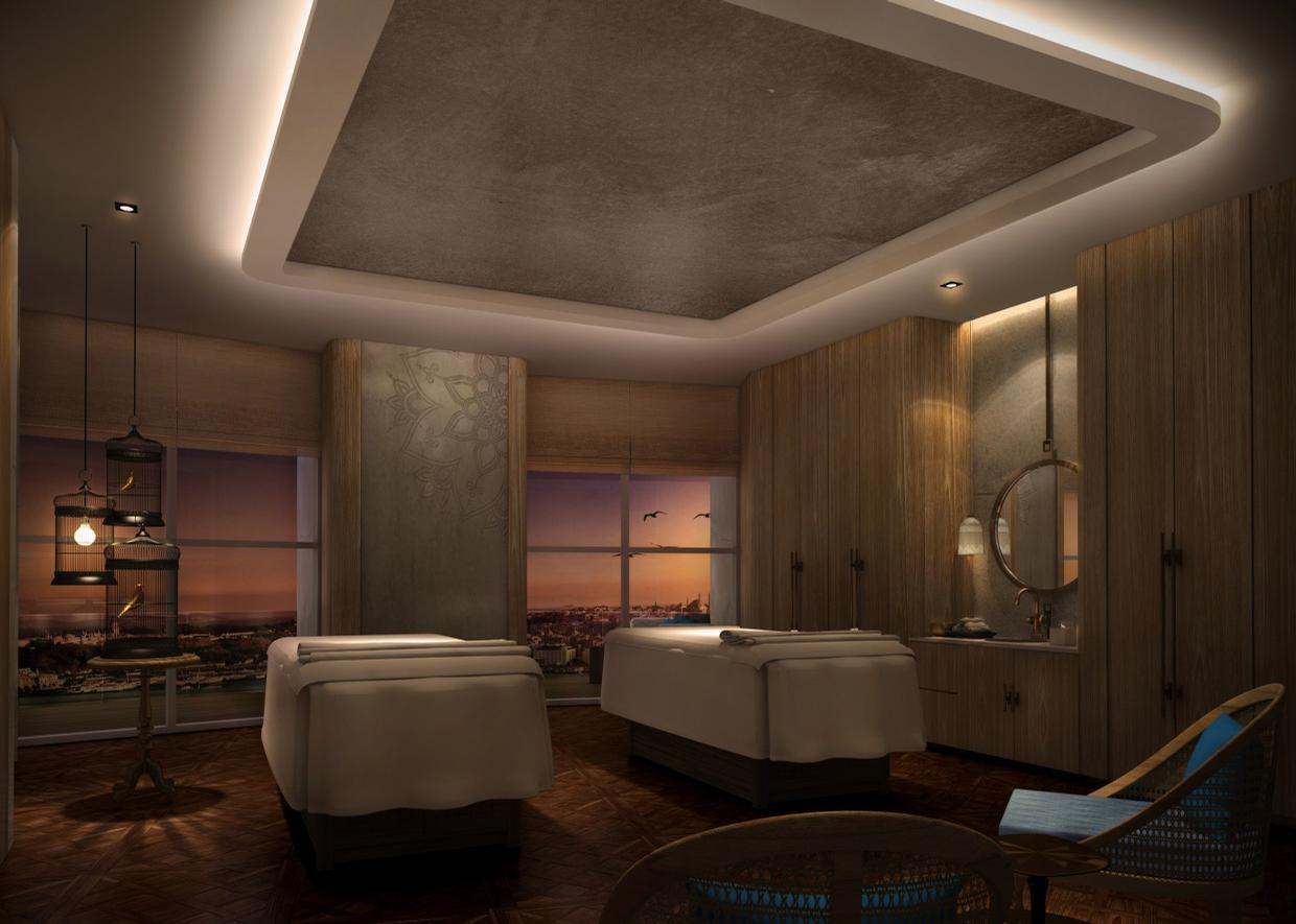 The spa includes seven treatment rooms, including two for couples