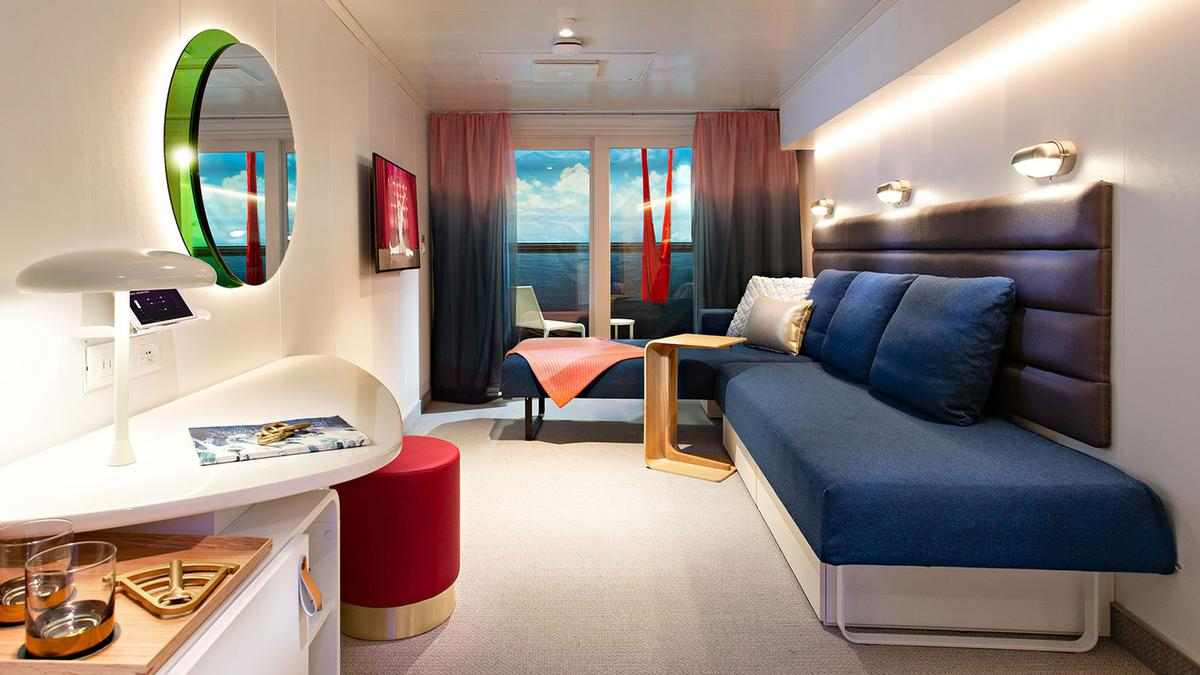 Sea Terrace cabins feature glam areas, rainshowers and hand-woven terrace hammocks / Virgin Voyages