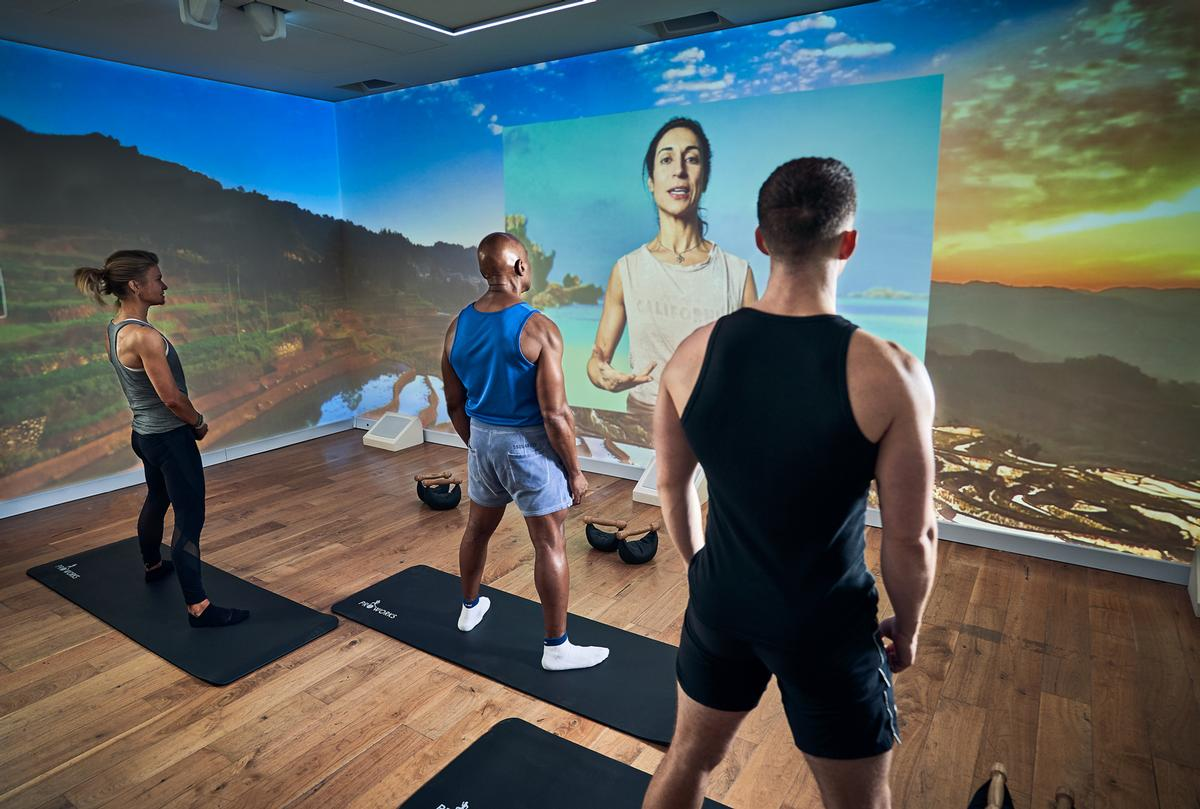 Clients are provided with a gallery of real-life and AR trails and can also use Zwift, or pre-recorded classes from suppliers such as Les Mills.