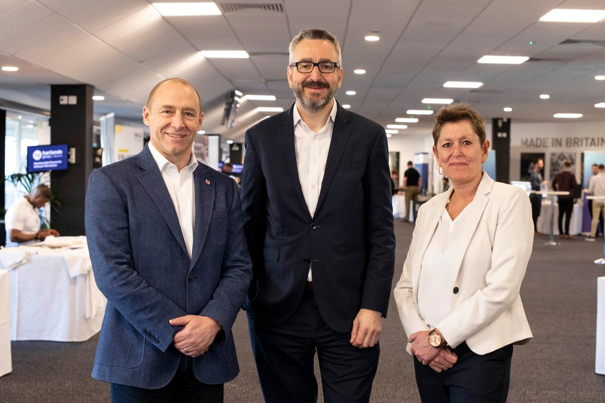 The announcement was made by Sport England CEO Tim Hollingsworth (middle) –here with Mark Gannon, CEO of UK Coaching (left), Tara Dillon, CEO of CIMSPA at the CIMSPA conference on 27 February 2020 / CIMSPA