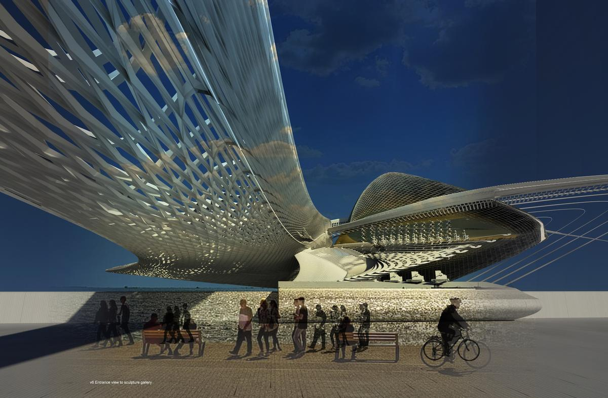 Part of the structure would be cantilevered over the adjacent promenade / Margot Krasojević