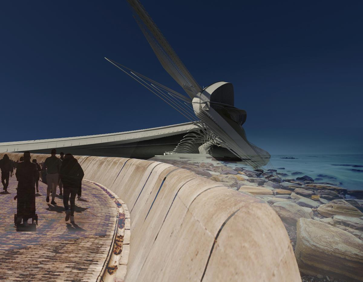 The building would be cantilevered over the coastline and partly submerged to maximise exposure to the wave energy / Margot Krasojević