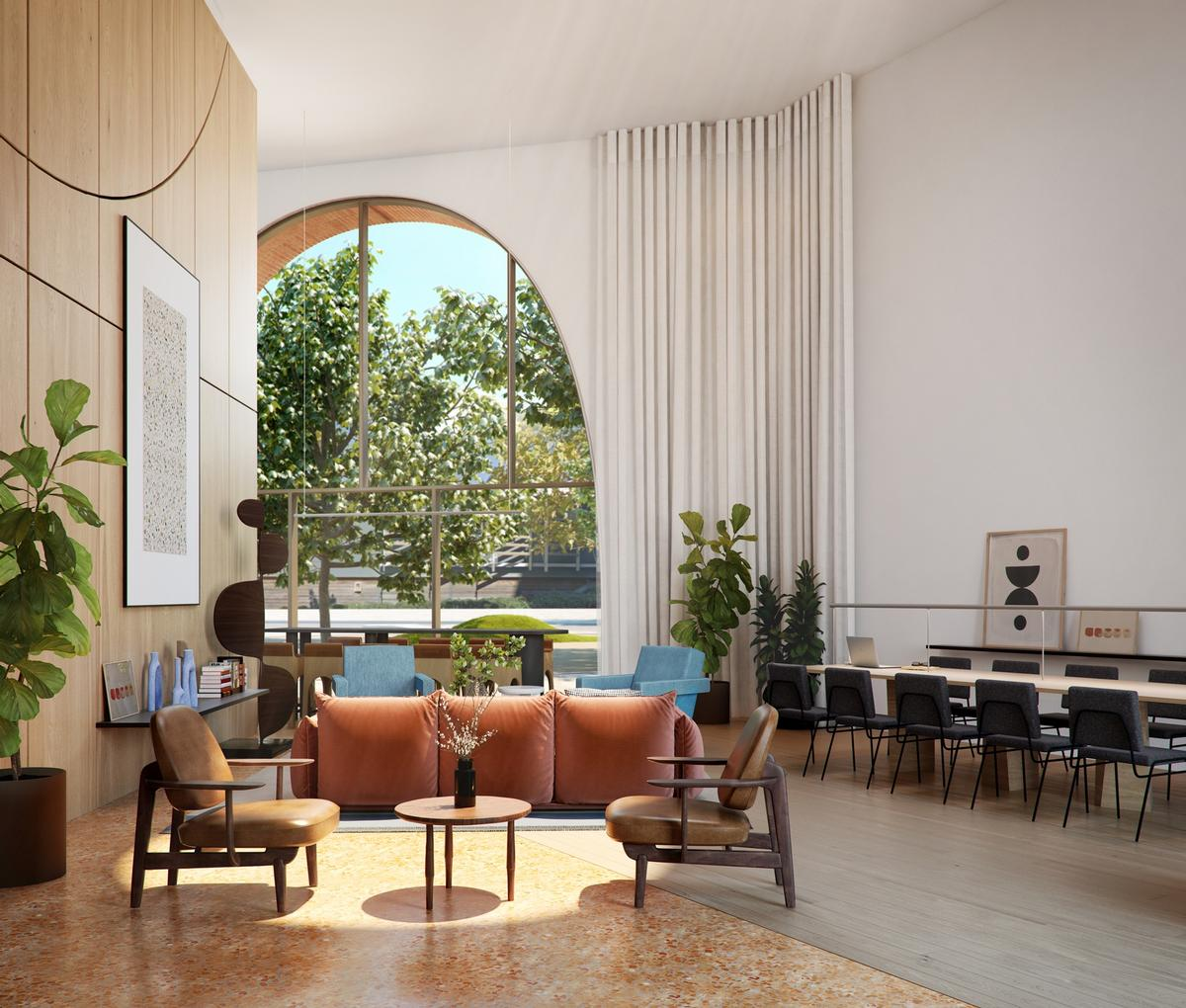 A residents' lounge will provide a communal space for relaxing and gatherings / Alison Brooks Architects