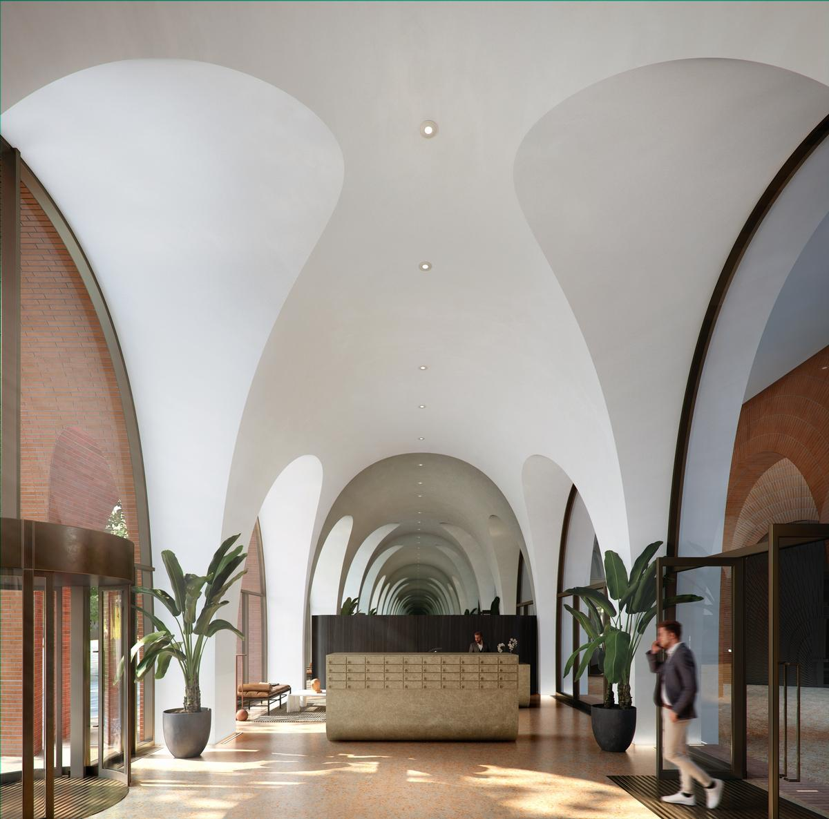 Interiors will feature floor-to-ceiling windows, vaulted ceilings and balconies / Alison Brooks Architects