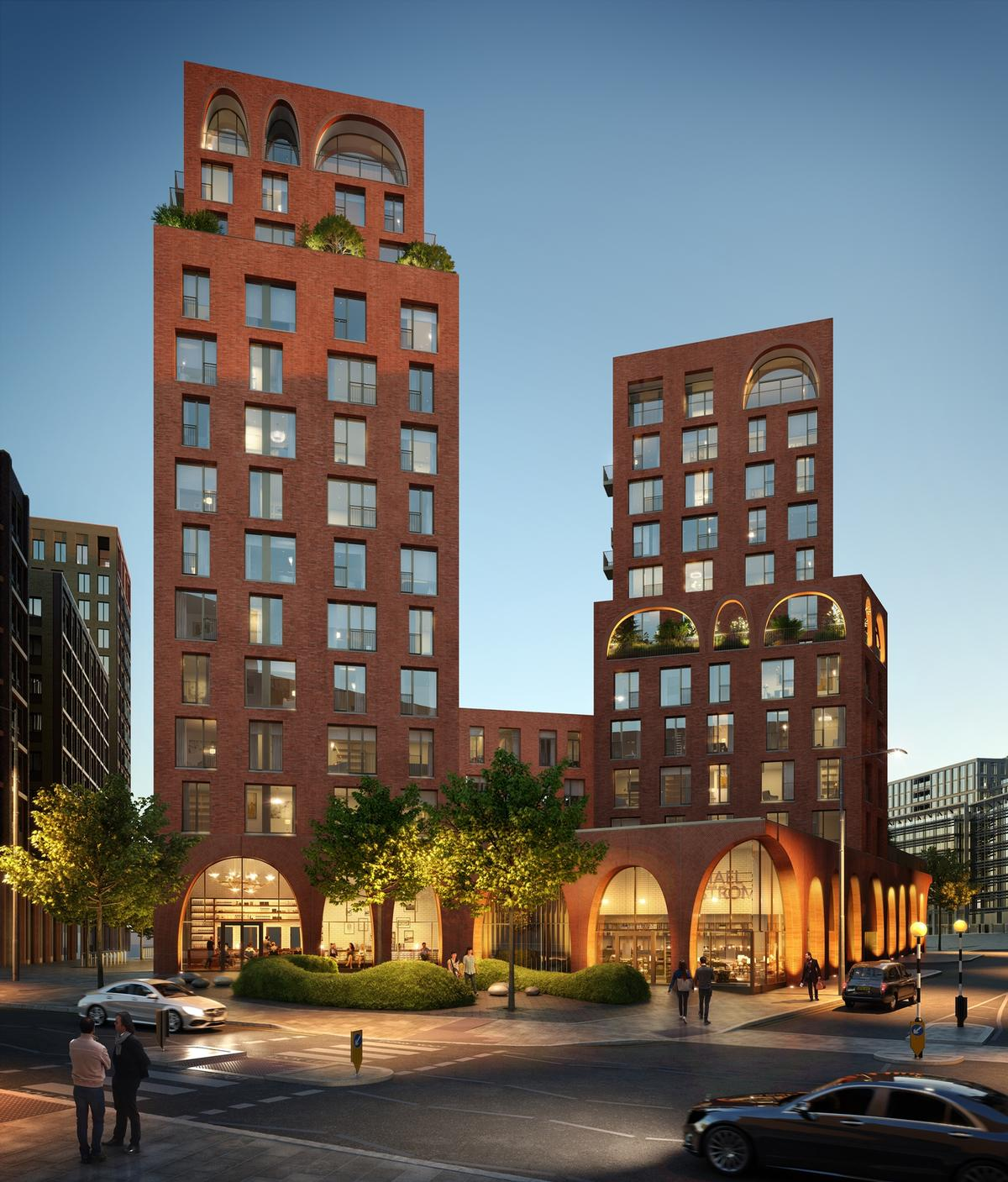 The building will feature a terracotta façade and 'Bézier curve' arches / Alison Brooks Architects
