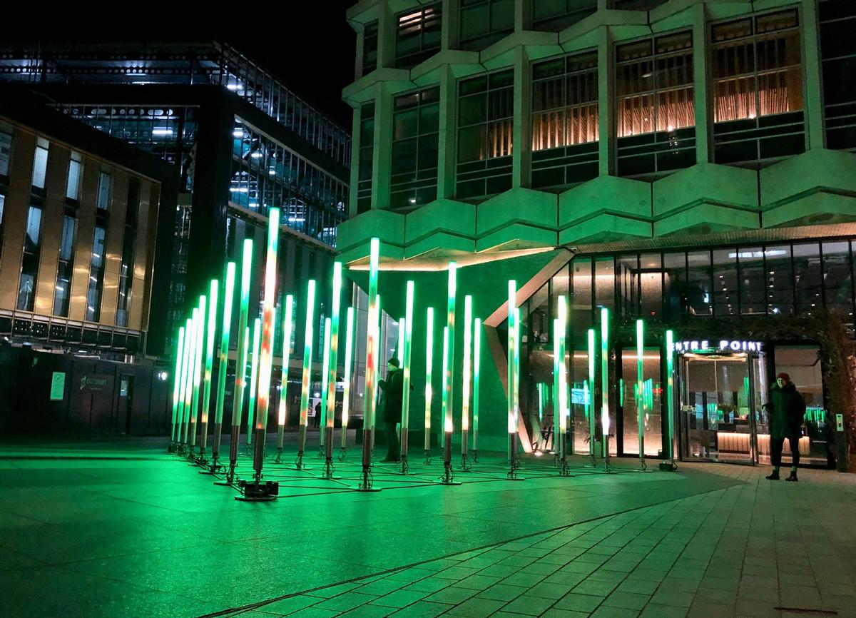 Echelon takes the form of a 12m (39ft) equilateral triangle of 36 vertical LED bars / James Burns