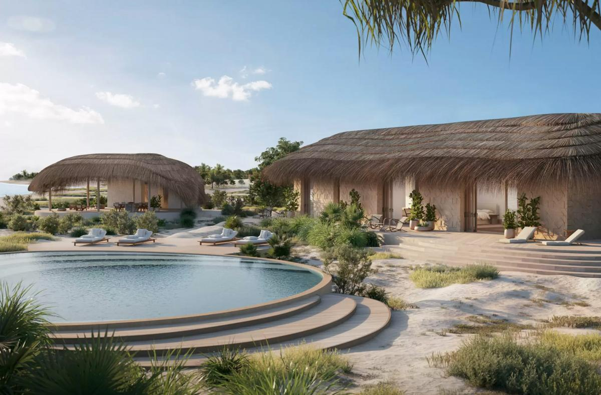 The resort will feature twelve one-, two- and three-bed bungalows set in an acre of land, each one including personal beachfront, a swimming pool, personal chef, massage hut, an electric mini moke (small convertible) and e-bike