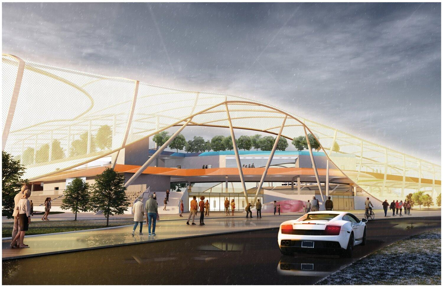 The inspiration for the overall aesthetic of the stadium is 'contextual fluidity' / Pendulum