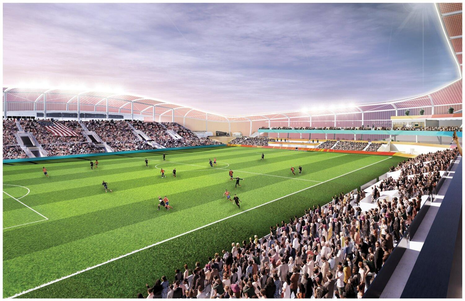 The design proposes an initial 3,000 capacity stadium that can be increased in size to a maximum capacity of 10,000 / Pendulum