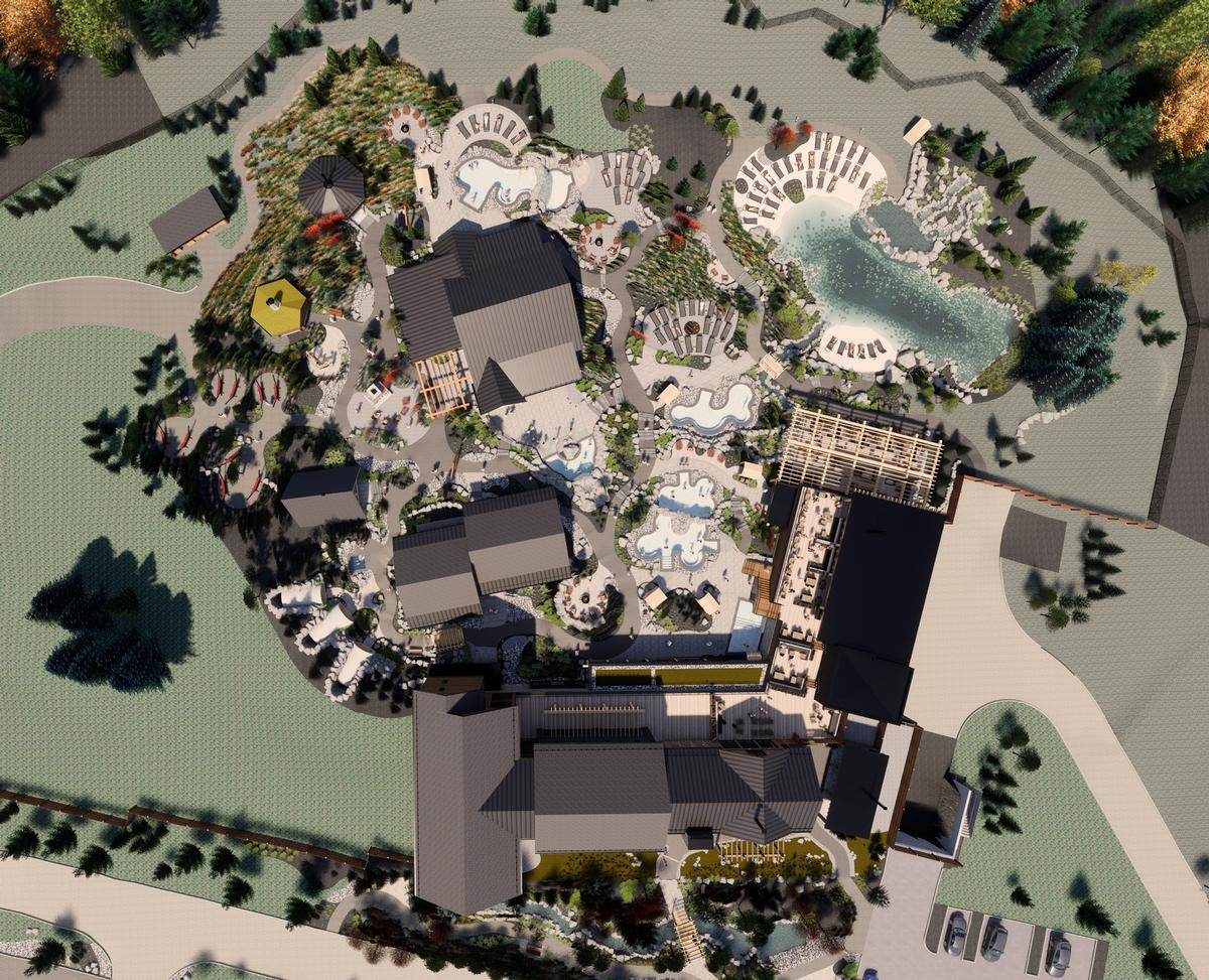 The property will include five outdoor pools, 25 treatment rooms, and a 120-seat sauna, along with indoor and outdoor relaxation areas