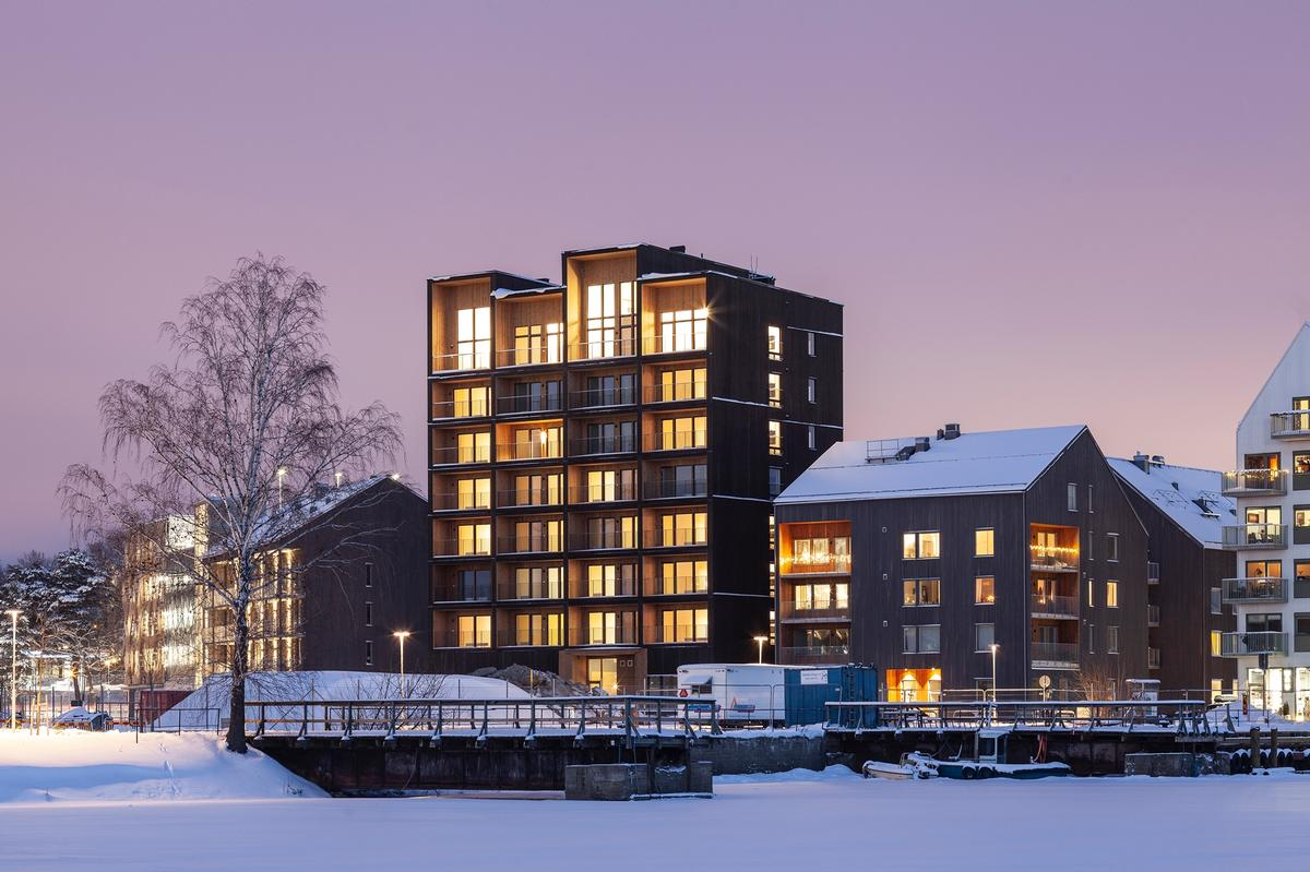 The 8.5 storey Tall Timber Building is said to be the tallest timber building in Sweden / Nikolaj Jakobsen