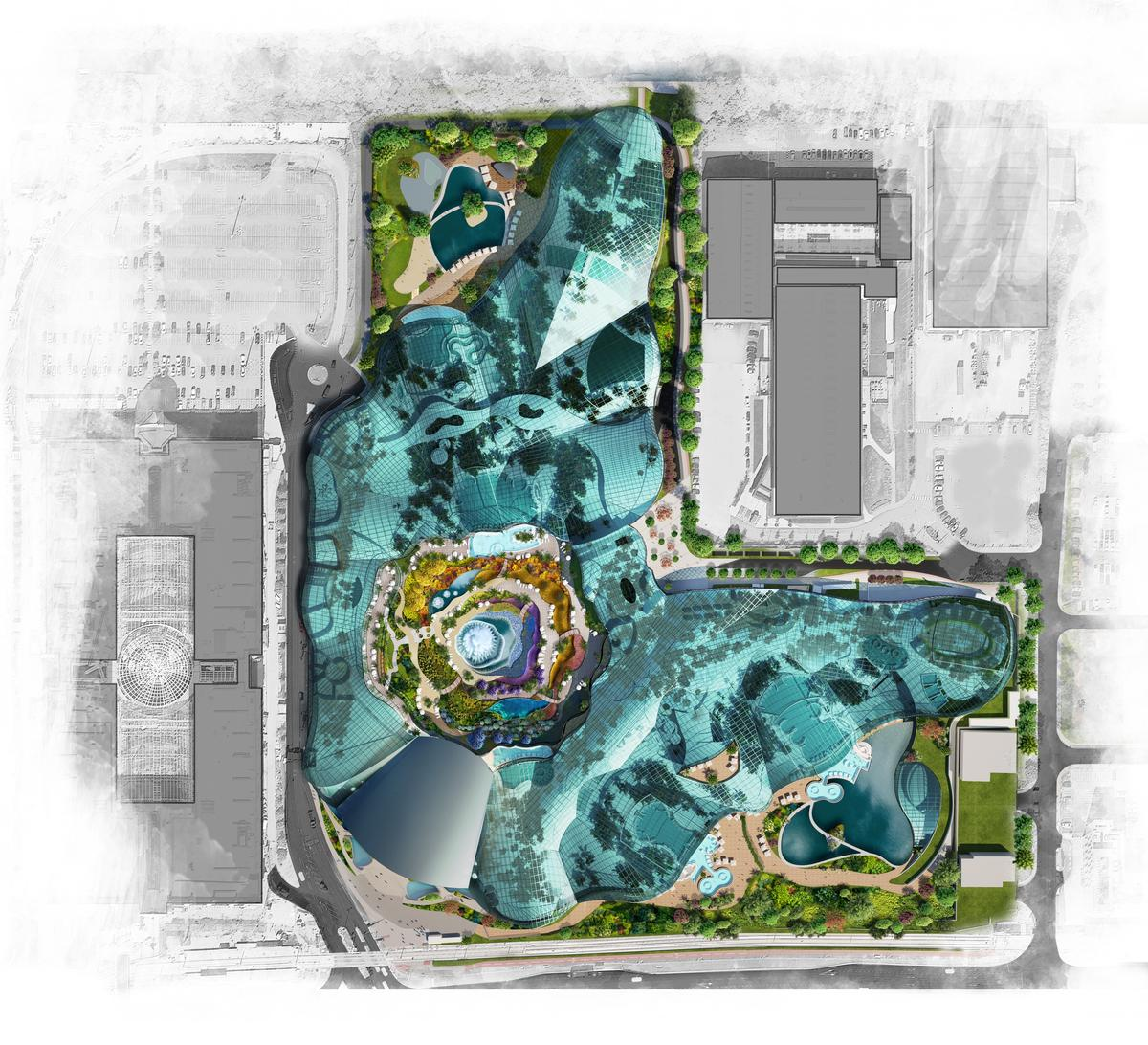 Therme Manchester will cover an area of 28ac (11ha), with a 65,000sq m (700,000sq ft) / Therme Group
