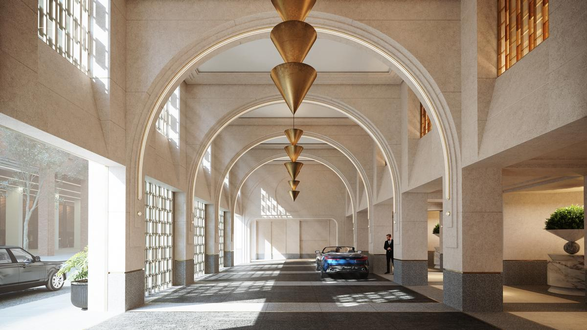 A porte cochère with double-height vaulted ceilings will offer residents a private entry