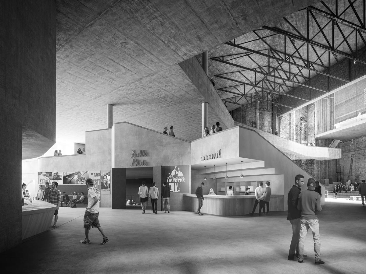 A large, open atrium will host debates, art and music performances / Play-Time