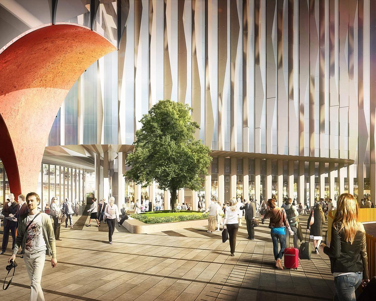 The aluminium fins will form the façade of the upcoming Minories Hotel in Aldgate, London / ©Colorminium